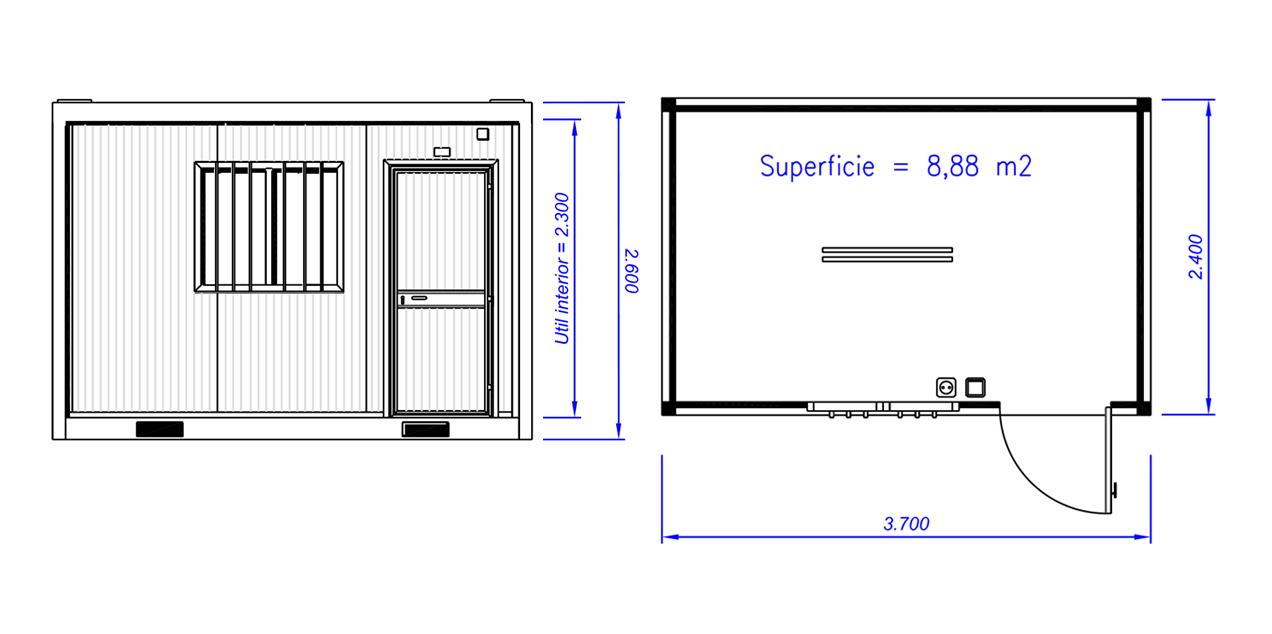 Ofi44 m dulo oficina 3 7 m zarca for Medidas reposapies para oficina