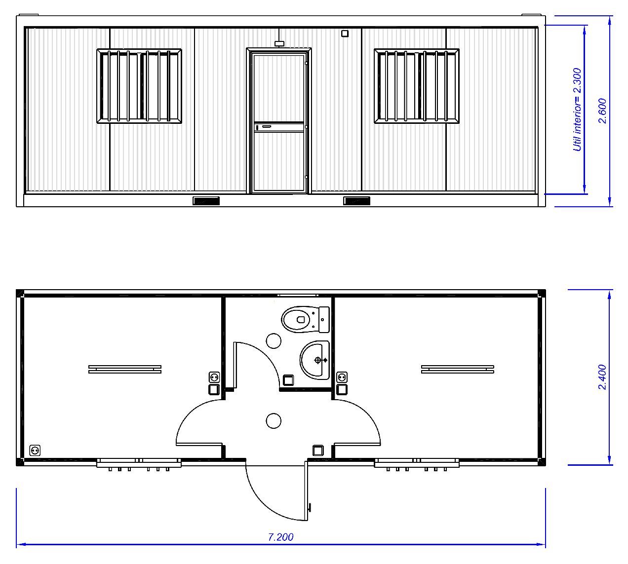 Plano m dulo prefabricado ofac77 zarca for Escritorios para oficina dimensiones