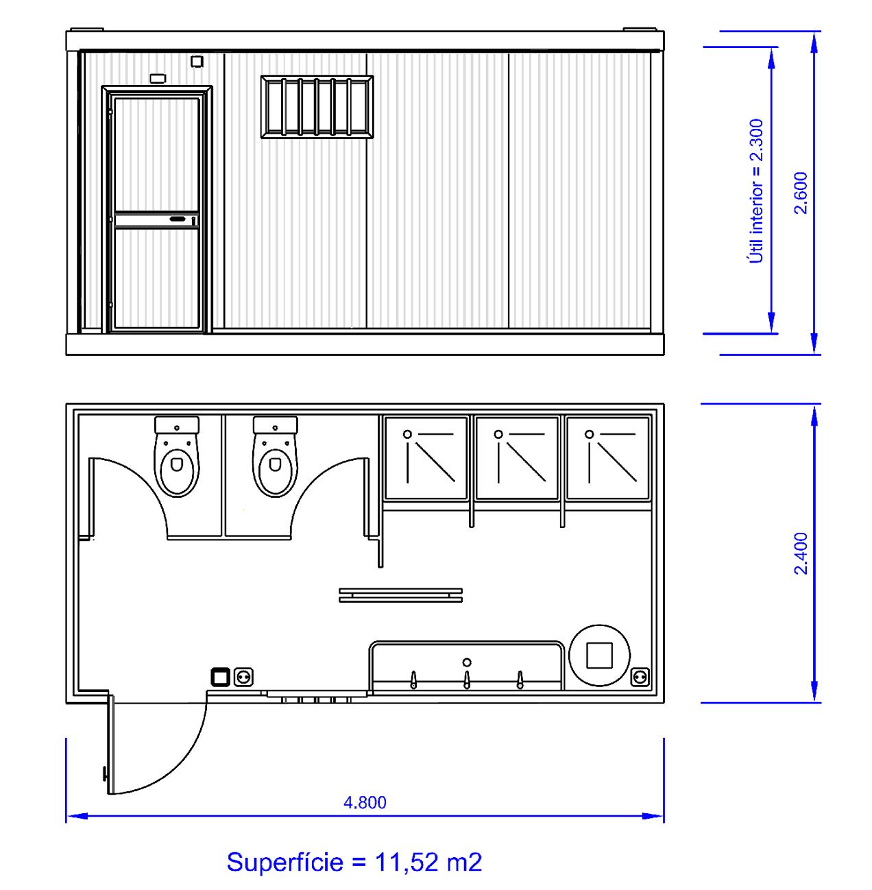 Plano Módulo Prefabricado SANI55