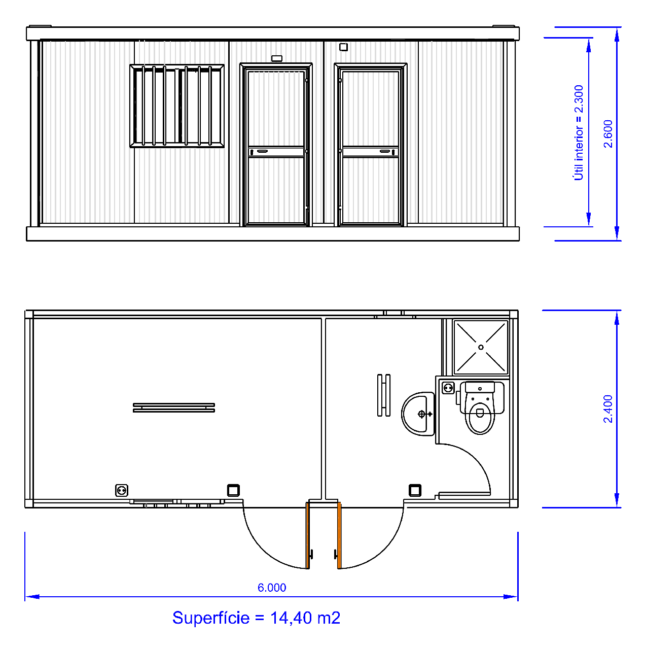 Vest66 m dulo vestuario 6 0m for Casetas de almacenaje para jardin