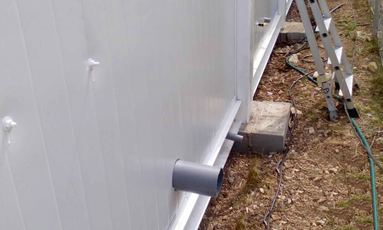 Conjunto modular - Detalle acometida de agua y desagüe