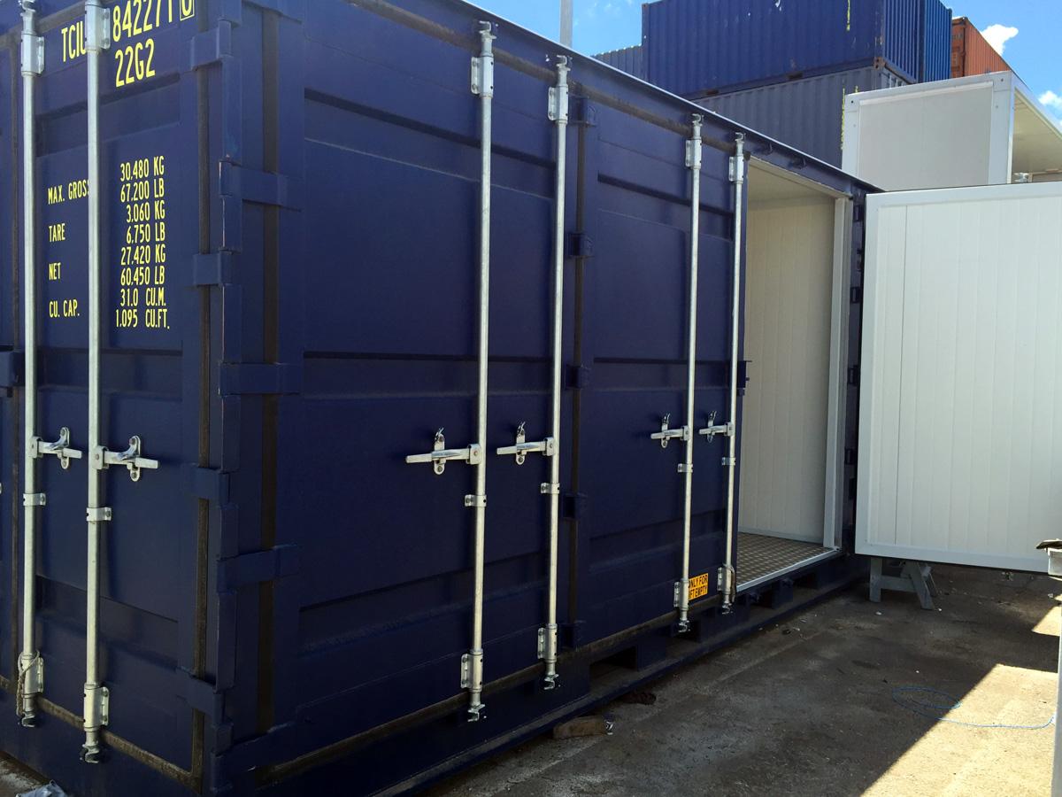 Contenedor Marítimo 20' Modificado - Detalle puertas lateral OPEN-SIDE