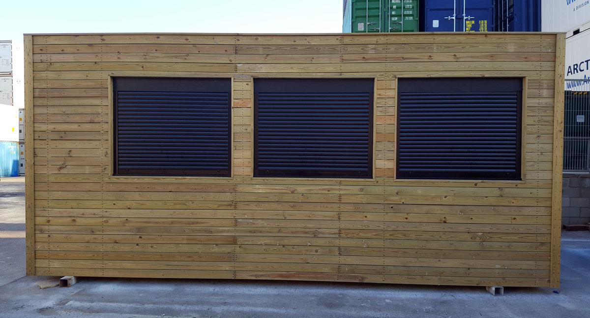 Módulo prefabricado forrado de madera