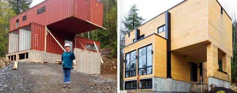 Casa lujosa contenedores marítimos - antes y después