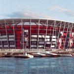 Estadio Mundial de Fútbol fabricado con contenedores
